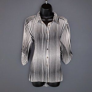 STYLE&CO Striped Sheer Blouse 3/4 Roll Tab Sleeve